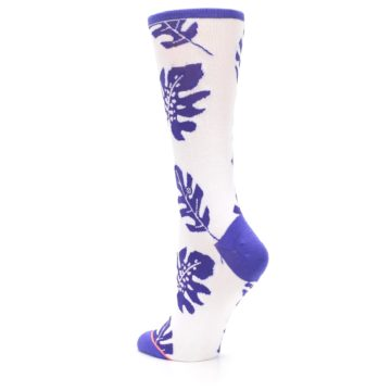 Image of Purple White Leaves Women's Casual Sock (side-2-back-15)