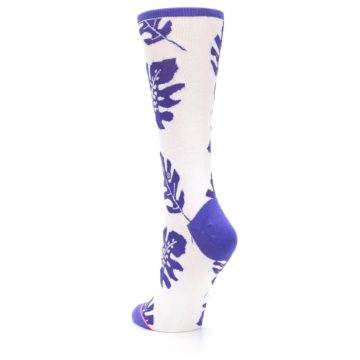 Image of Purple White Leaves Women's Casual Sock (side-2-back-16)