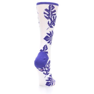 Image of Purple White Leaves Women's Casual Sock (side-1-back-21)