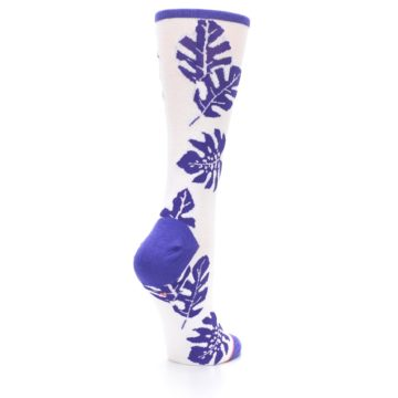 Image of Purple White Leaves Women's Casual Sock (side-1-back-22)