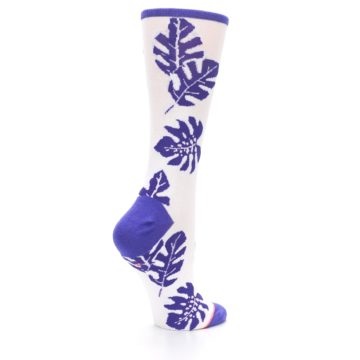 Image of Purple White Leaves Women's Casual Sock (side-1-23)