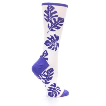 Image of Purple White Leaves Women's Casual Sock (side-1-24)