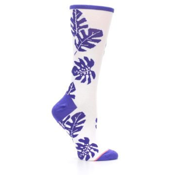 Image of Purple White Leaves Women's Casual Sock (side-1-25)