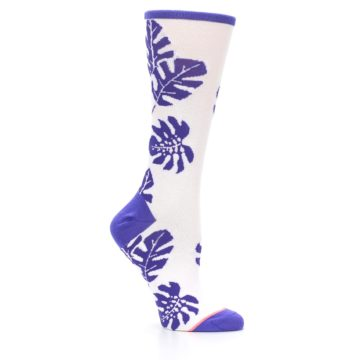 Image of Purple White Leaves Women's Casual Sock (side-1-26)