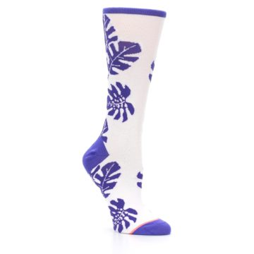 Image of Purple White Leaves Women's Casual Sock (side-1-27)