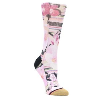 Image of Pink Magenta Flowers Women's Casual Sock (side-1-front-01)