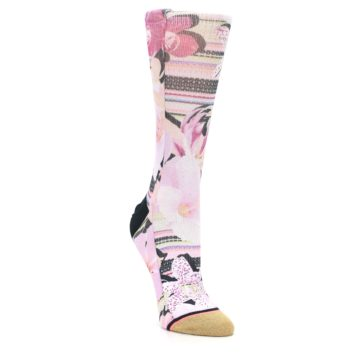 Image of Pink Magenta Flowers Women's Casual Sock (side-1-front-02)