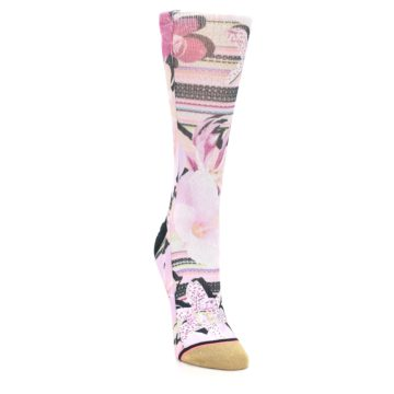Image of Pink Magenta Flowers Women's Casual Sock (side-1-front-03)
