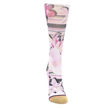 Image of Pink Magenta Flowers Women's Casual Sock (front-04)
