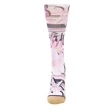 Image of Pink Magenta Flowers Women's Casual Sock (side-2-front-06)