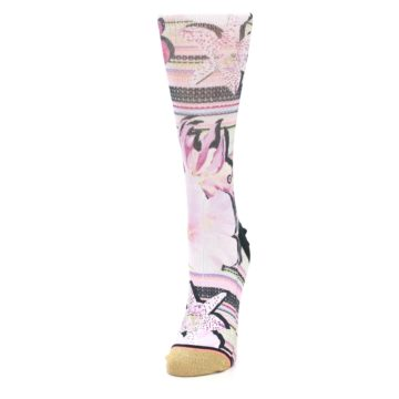 Image of Pink Magenta Flowers Women's Casual Sock (side-2-front-07)