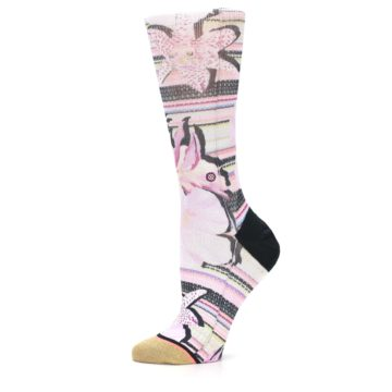 Image of Pink Magenta Flowers Women's Casual Sock (side-2-11)