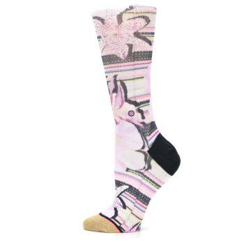 Image of Pink Magenta Flowers Women's Casual Sock (side-2-12)