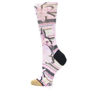 Image of Pink Magenta Flowers Women's Casual Sock (side-2-13)