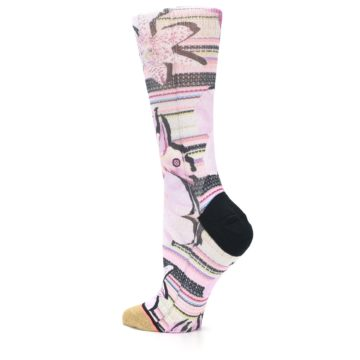 Image of Pink Magenta Flowers Women's Casual Sock (side-2-back-14)