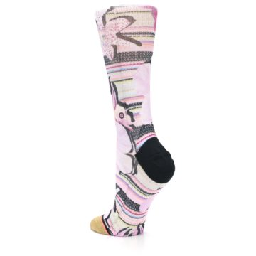 Image of Pink Magenta Flowers Women's Casual Sock (side-2-back-15)
