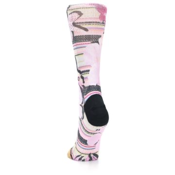 Image of Pink Magenta Flowers Women's Casual Sock (back-17)