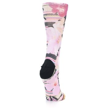 Image of Pink Magenta Flowers Women's Casual Sock (side-1-back-21)