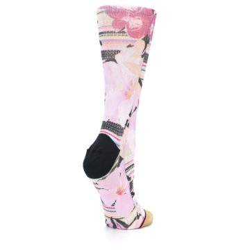 Image of Pink Magenta Flowers Women's Casual Sock (side-1-back-22)