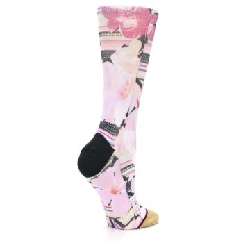 Image of Pink Magenta Flowers Women's Casual Sock (side-1-23)