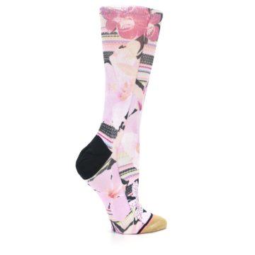 Image of Pink Magenta Flowers Women's Casual Sock (side-1-24)