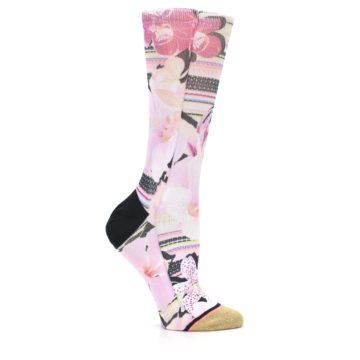 Image of Pink Magenta Flowers Women's Casual Sock (side-1-25)