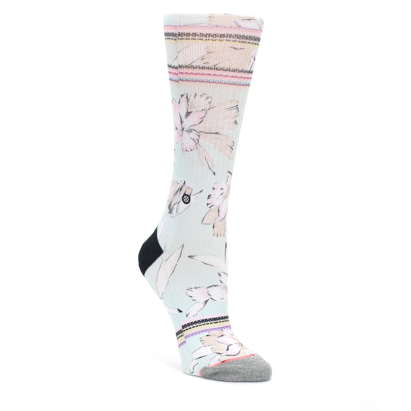 894080eff Image of Blue White Pink Flowers Women's Casual Sock (side-1-front-
