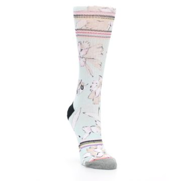 Image of Blue White Pink Flowers Women's Casual Sock (side-1-front-02)