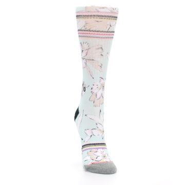 Image of Blue White Pink Flowers Women's Casual Sock (side-1-front-03)