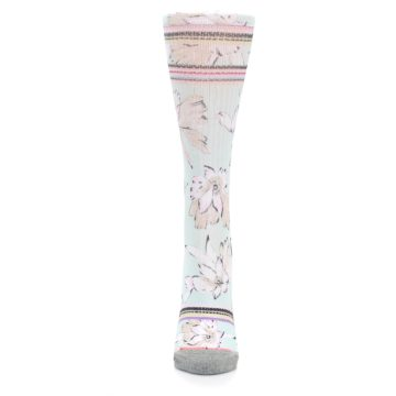 Image of Blue White Pink Flowers Women's Casual Sock (front-05)