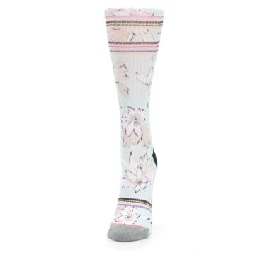 Image of Blue White Pink Flowers Women's Casual Sock (side-2-front-06)