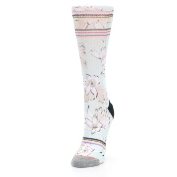 Image of Blue White Pink Flowers Women's Casual Sock (side-2-front-07)
