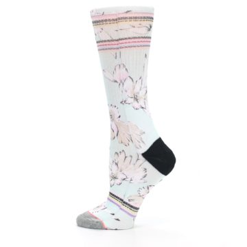 Image of Blue White Pink Flowers Women's Casual Sock (side-2-12)