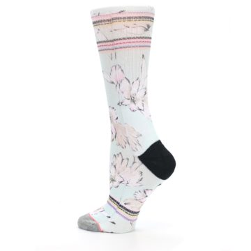 Image of Blue White Pink Flowers Women's Casual Sock (side-2-13)
