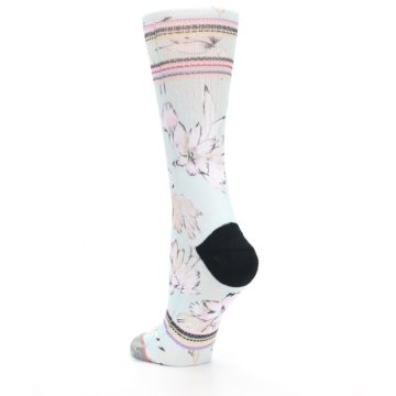 Image of Blue White Pink Flowers Women's Casual Sock (side-2-back-15)