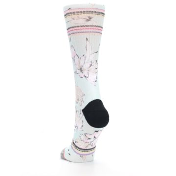 Image of Blue White Pink Flowers Women's Casual Sock (side-2-back-16)