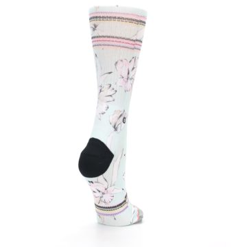 Image of Blue White Pink Flowers Women's Casual Sock (side-1-back-21)