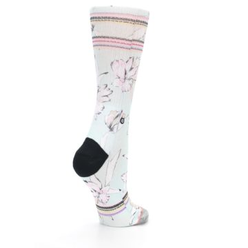 Image of Blue White Pink Flowers Women's Casual Sock (side-1-back-22)