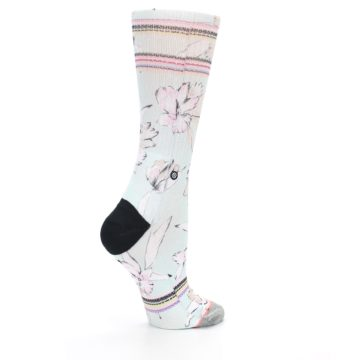 Image of Blue White Pink Flowers Women's Casual Sock (side-1-23)