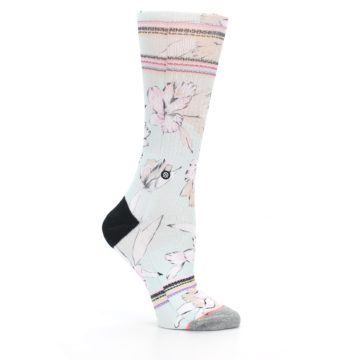 Image of Blue White Pink Flowers Women's Casual Sock (side-1-25)