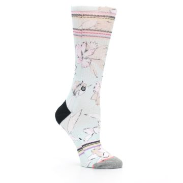 Image of Blue White Pink Flowers Women's Casual Sock (side-1-26)