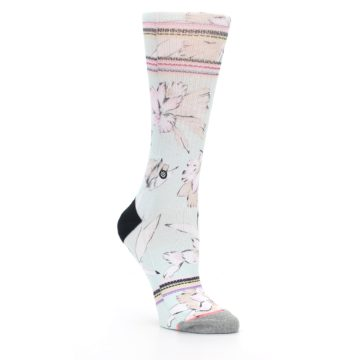 Image of Blue White Pink Flowers Women's Casual Sock (side-1-27)