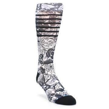 Image of Black White Floral Pattern Men's Casual Socks (side-1-front-02)