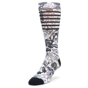Image of Black White Floral Pattern Men's Casual Socks (side-2-front-07)