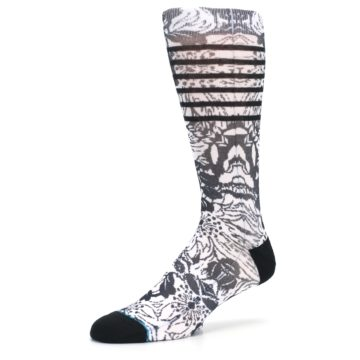 Image of Black White Floral Pattern Men's Casual Socks (side-2-09)