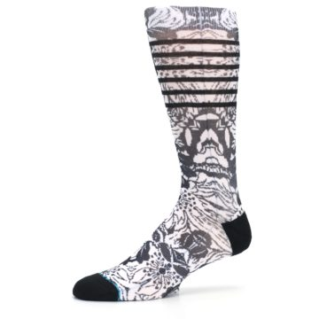 Image of Black White Floral Pattern Men's Casual Socks (side-2-10)