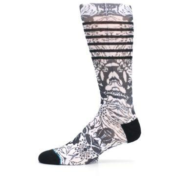 Image of Black White Floral Pattern Men's Casual Socks (side-2-11)