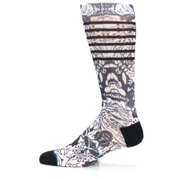 Image of Black White Floral Pattern Men's Casual Socks (side-2-12)