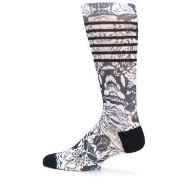Image of Black White Floral Pattern Men's Casual Socks (side-2-13)