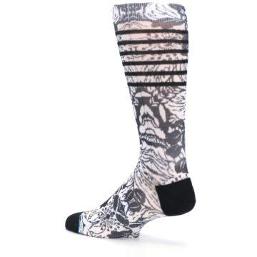 Image of Black White Floral Pattern Men's Casual Socks (side-2-back-14)